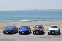 最新ディーゼル車4台をイッキ乗り! 左から「メルセデス・ベンツSクラス」「プジョー308SW」「MINIクロスオーバー」「メルセデス・ベンツGLCクーペ」。