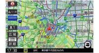新しい交通情報サービス「VICS WIDE」に対応しているので、急に襲ってくる天候の変化にも対処できる。画面はゲリラ豪雨のエリア(黄色く塗られた部分)が自車の近くまで来ていることを示している。