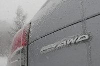 「フォレスター」のテールゲートに誇らしげに飾られている「SYMMETRICAL AWD」のロゴ。この日ほど、このロゴが頼もしく思えた日はなかった。