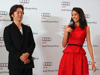 横浜育ちの浅野忠信さん(写真左)はゲスト出演。現在も横浜をドライブする機会は多く、ぜひ「アウディR8」のオープンに乗ってみたいとのこと。森 泉さん(写真右)も、一番気になるアウディ車は「R8」なのだそうだ。