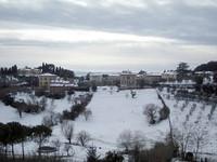 近所の谷も雪景色となった。