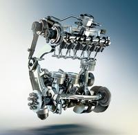 新たに採用される1.5リッター直3直噴ターボエンジンの、透視イメージ。