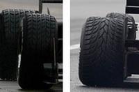 ブリヂストンは新しいレインタイヤをテストに投入。左が旧パターン、右が新パターンだ。