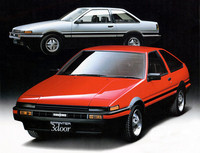 「トヨタ・スプリンタートレノ」 「スプリンター」をベースとしたスポーツクーペで、「カローラレビン」とは兄弟車。シリーズ最後のFRモデルとなった「AE86」は、ドリフトマシンとして今も人気が衰えない。北米にも輸出されたが、法規の関係でリトラクタブルヘッドライトのトレノのみだった。