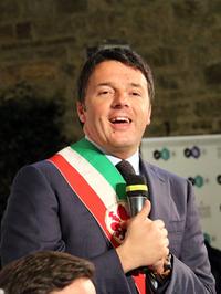 市長時代のマッテオ・レンツィ氏。2014年1月フィレンツェ市庁舎で筆者撮影。