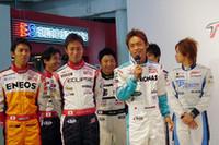 SUPER GTのドライバーらも登壇。「フジでは最高のパフォーマンスを! そして、国内レース組にそのパワーを返してほしいです(脇阪寿一)」などと、F1ドライバーにエールを送った。
