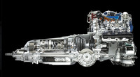 新開発V8エンジンの透視図。