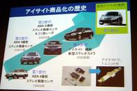 説明会では、「アイサイト」の歴史も紹介された。開発期間はトータルで10年超、5世代目のシステムとなる。