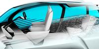 「FCVプラス」の乗車定員は4人。3Dプリンターを使って成形されたフレームにより、軽さと剛性を両立させるという。