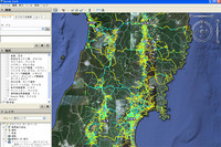 被災地域の道路通行実績が見られるトヨタのサービス「通れた道マップ」の閲覧画面。