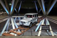 発表会場にて、トリックアートの趣向を凝らして展示されていた「メルセデス・ベンツGクラス」