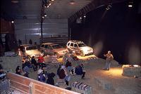 試乗会のブリーフィング会場は、「ジープ」がもつイメージを盛り上げる演出がなされた。