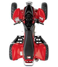 上から見た「ホンダTRX450R」。まさに、4輪のバイクといった車体構成だ。