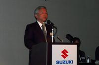 今後の戦略について説明する、スズキ副社長の本田 治 四輪技術本部長。