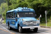 「ボンネットバス試乗会」に供された「福山自動車時計博物館」所有の「銀河号」こと66年式「BXD30」。かつて東海バスで「伊豆の踊子号・2号車」として活躍していた個体で、引退後は放置されていたが、2000年に1年かけてレストアされ、現役復帰した。