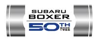 スバルのBOXERエンジン搭載車の50周年記念モデルであることを示すロゴ。