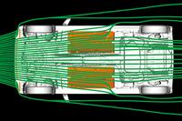 フロアアンダーカバーとタイヤディフレクターによって、ボディーの下を流れる空気を整流。空気抵抗を低減している。