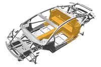 ボディーストラクチャーは、アルミと炭素繊維強化ポリマー(写真のオレンジの部分)のハイブリッド構造となる。