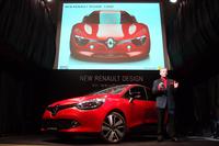 発表会では、デザインに関するプレゼンテーションに多くの時間が割かれた。上方のスライド画面にあるのは、デザインの元とされるコンセプトカー「デジール」。