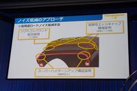 発表会のスライドから。コンパウンドや補強材も、ノイズ低減に貢献しているという。