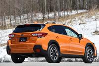 今回は特設コース内で、登録前の車両に試乗した。写真は「2.0i-S EyeSight」。ボディーカラーはサンシャインオレンジ。