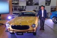 この「P1800」は、ボルボ・カー・ジャパンの木村隆之社長所有のもの。3台の車両を1台にレストアし、オリジナル色のサファリイエローにオールペンを施している。