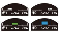 「コーチング機能」は、ランプの色やゲージで運転状況を知らせてくれる。写真の上の2つは「体がゆれる運転」を表し、左がハンドル操作評価、右がアクセル/ブレーキ操作評価。下の表示は「やさしい運転」(左)と「しなやかな運転」。