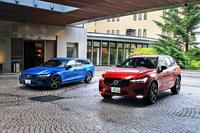 今回試乗した「XC60」(右)と「V60」(左)。グローバルでは前者がブランド1位、後者が同4位の販売台数を誇る、ボルボの基幹車種だ。
