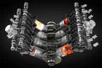 V8エンジンの燃焼イメージ。