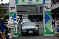 2日目、京都を出て琵琶湖畔の彦根を経由、愛知の「愛・地球博」会場まで、約170kmにも及ぶエコキャラバンがスタートした。